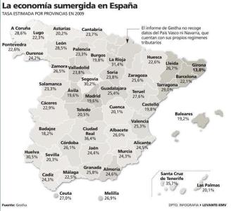 Economía sumergida por provincias