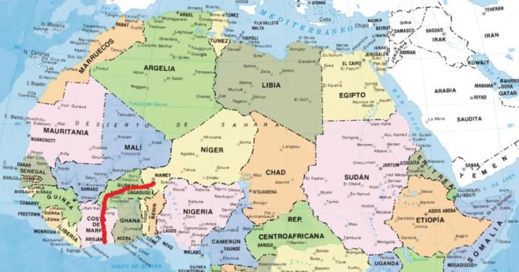 El camino de migración de Niamey (Níger) a Abidjan (Costa de Marfil)