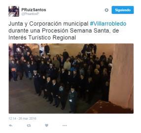 Tweet del ex-alcalde de Villarrobledo y actual Delegado de la Comunidad en Albacete, del PSOE