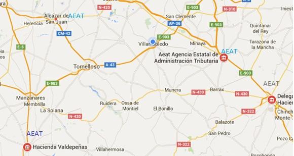 Por ejemplo, distribución de las delegaciones de la AEAT en la Mancha.