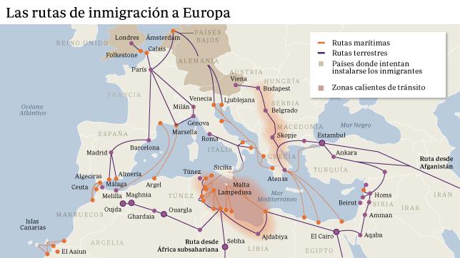 ABC - Rutas de emigración Siria