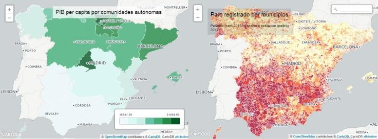 Mapas de PIB per cápita y desempleo