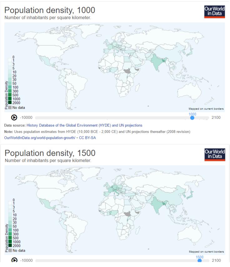Cambios en la densidad de población entre 1000 y 1500
