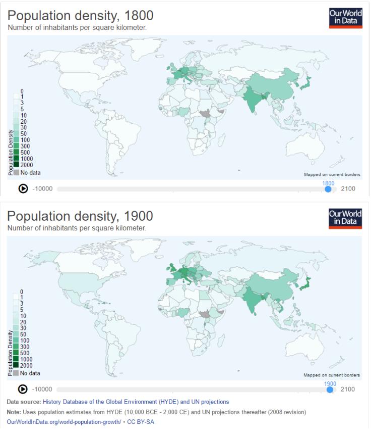 Incremento de la densidad de población entre 1800 y 1900: la I Revolución industrial.