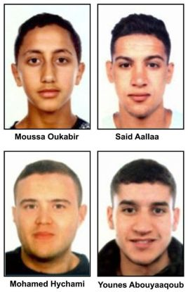 Foto de los cuatro sospechosos del atentado del 17A