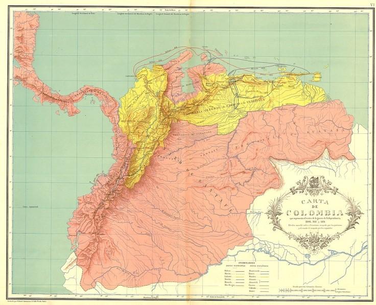 Mapa de la Gran Colombia - 1806 a 1814