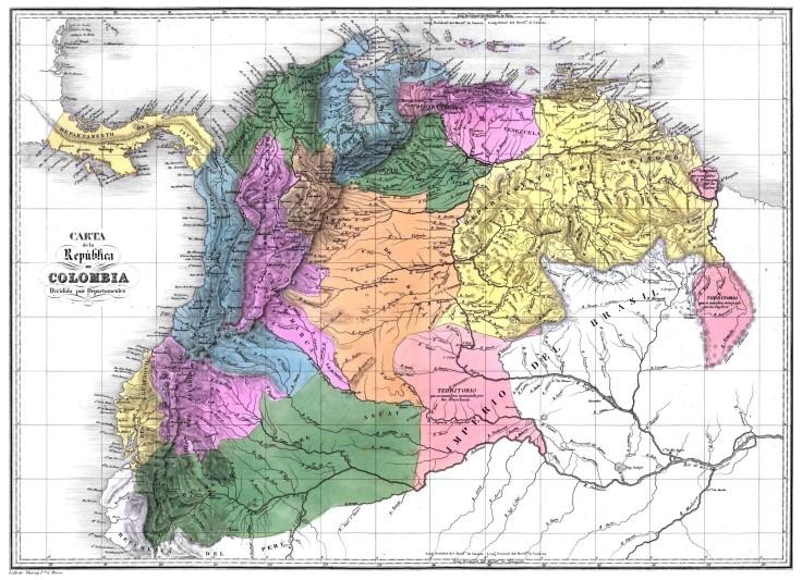 Mapa de la Gran Colombia de Bolívar.