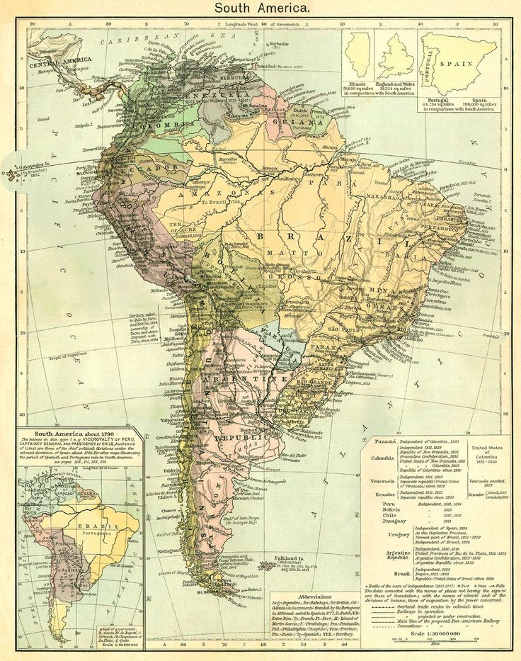 Mapa de América del Sur hacia 1790