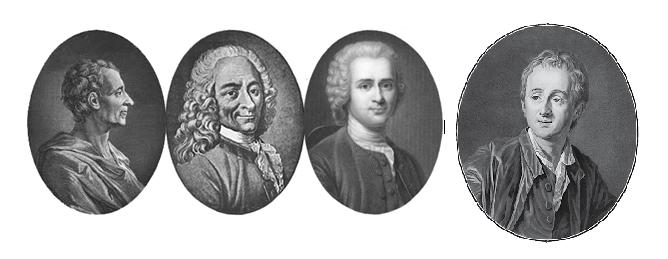 Montesquieu, Voltaire, Rousseau, y Diderot