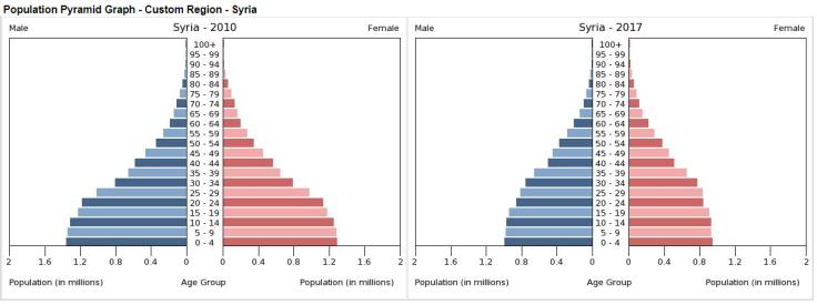 Pirámides de población Siria 2010-2017